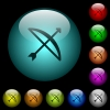 Bow with arrow icons in color illuminated glass buttons - Bow with arrow icons in color illuminated spherical glass buttons on black background. Can be used to black or dark templates