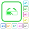 Retro 3d glasses vivid colored flat icons in curved borders on white background - Retro 3d glasses vivid colored flat icons
