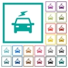 Electric car with flash flat color icons with quadrant frames - Electric car with flash flat color icons with quadrant frames on white background