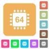 Microprocessor 64 bit architecture rounded square flat icons - Microprocessor 64 bit architecture flat icons on rounded square vivid color backgrounds.
