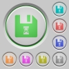 File waiting push buttons - File waiting color icons on sunk push buttons