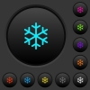 Single snowflake dark push buttons with vivid color icons on dark grey background