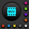 MOV movie format dark push buttons with vivid color icons on dark grey background
