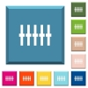 Graphical equalizer white icons on edged square buttons - Graphical equalizer white icons on edged square buttons in various trendy colors