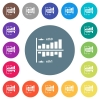 Network statistics flat white icons on round color backgrounds. 17 background color variations are included. - Network statistics flat white icons on round color backgrounds