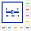 Audio balance control flat framed icons - Audio balance control flat color icons in square frames on white background
