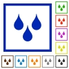 Water drops flat framed icons - Water drops flat color icons in square frames on white background