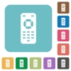 Remote control rounded square flat icons - Remote control white flat icons on color rounded square backgrounds