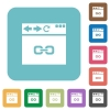 Browser link rounded square flat icons - Browser link white flat icons on color rounded square backgrounds