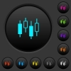 Candlestick chart dark push buttons with color icons - Candlestick chart dark push buttons with vivid color icons on dark grey background