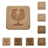 Fragile symbol wooden buttons - Fragile symbol on rounded square carved wooden button styles