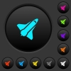 Space shuttle dark push buttons with color icons - Space shuttle dark push buttons with vivid color icons on dark grey background