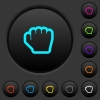 Grab cursor dark push buttons with color icons - Grab cursor dark push buttons with vivid color icons on dark grey background