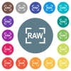 Camera raw image mode flat white icons on round color backgrounds. 17 background color variations are included.