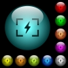 Camera flash mode icons in color illuminated glass buttons - Camera flash mode icons in color illuminated spherical glass buttons on black background. Can be used to black or dark templates