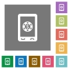 Mobile casino square flat icons - Mobile casino flat icons on simple color square backgrounds