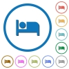 Hotel flat color vector icons with shadows in round outlines on white background - Hotel icons with shadows and outlines - Small thumbnail