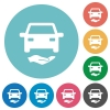 Car insurance flat white icons on round color backgrounds - Car insurance flat round icons - Small thumbnail