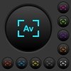 Camera aperture value mode dark push buttons with vivid color icons on dark grey background - Camera aperture value mode dark push buttons with color icons - Small thumbnail