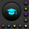 Graduation cap dark push buttons with vivid color icons on dark grey background - Graduation cap dark push buttons with color icons - Small thumbnail