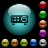 Video projector icons in color illuminated glass buttons - Video projector icons in color illuminated spherical glass buttons on black background. Can be used to black or dark templates