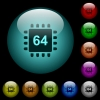 Microprocessor 64 bit architecture icons in color illuminated spherical glass buttons on black background. Can be used to black or dark templates - Microprocessor 64 bit architecture icons in color illuminated glass buttons