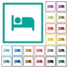 Hotel flat color icons with quadrant frames - Hotel flat color icons with quadrant frames on white background