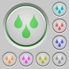 Water drops push buttons - Water drops color icons on sunk push buttons