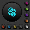 Euro Dollar money exchange dark push buttons with vivid color icons on dark grey background
