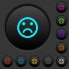 Sad emoticon dark push buttons with vivid color icons on dark grey background - Sad emoticon dark push buttons with color icons