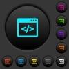 Programming code in software window dark push buttons with color icons - Programming code in software window dark push buttons with vivid color icons on dark grey background