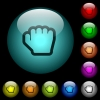 Grab cursor icons in color illuminated glass buttons - Grab cursor icons in color illuminated spherical glass buttons on black background. Can be used to black or dark templates