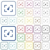 Camera sensor cleaning outlined flat color icons - Camera sensor cleaning color flat icons in rounded square frames. Thin and thick versions included.
