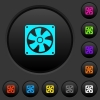 Computer fan dark push buttons with vivid color icons on dark grey background