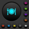 Dinner dark push buttons with color icons - Dinner dark push buttons with vivid color icons on dark grey background