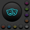 Comedy and tragedy theatrical masks dark push buttons with vivid color icons on dark grey background - Comedy and tragedy theatrical masks dark push buttons with color icons