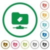 FTP tag flat icons with outlines - FTP tag flat color icons in round outlines on white background