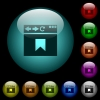 Browser bookmark icons in color illuminated glass buttons - Browser bookmark icons in color illuminated spherical glass buttons on black background. Can be used to black or dark templates