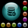 Database processing icons in color illuminated glass buttons - Database processing icons in color illuminated spherical glass buttons on black background. Can be used to black or dark templates