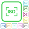 Camera iso speed setting vivid colored flat icons - Camera iso speed setting vivid colored flat icons in curved borders on white background