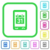 Mobile organizer vivid colored flat icons - Mobile organizer vivid colored flat icons in curved borders on white background
