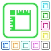 Canvas rulers vivid colored flat icons in curved borders on white background - Canvas rulers vivid colored flat icons