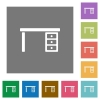 Drawer desk square flat icons - Drawer desk flat icons on simple color square backgrounds
