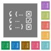 Debugging program square flat icons - Debugging program flat icons on simple color square backgrounds