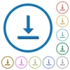 Vertical align bottom icons with shadows and outlines - Vertical align bottom flat color vector icons with shadows in round outlines on white background