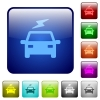 Electric car with flash color square buttons - Electric car with flash icons in rounded square color glossy button set