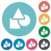 Basic geometric shapes flat round icons - Basic geometric shapes flat white icons on round color backgrounds