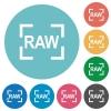 Camera raw image mode flat round icons - Camera raw image mode flat white icons on round color backgrounds