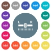Audio balance control flat white icons on round color backgrounds - Audio balance control flat white icons on round color backgrounds. 17 background color variations are included.