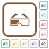 Retro 3d glasses simple icons in color rounded square frames on white background